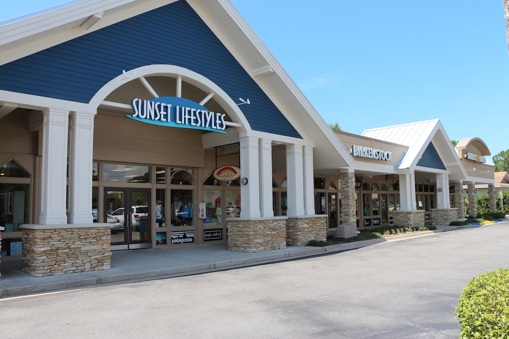 An outside view of Sunset Shoes and Sunset Lifestyles at the Market Shops in Sandestin, Florida.