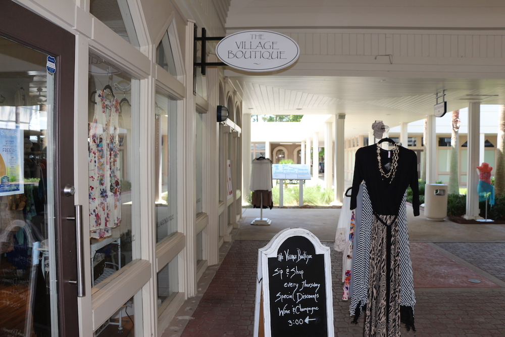 A rack of women's clothing outside of the Village Boutique at the Market Shops in Sandestin, Florida.