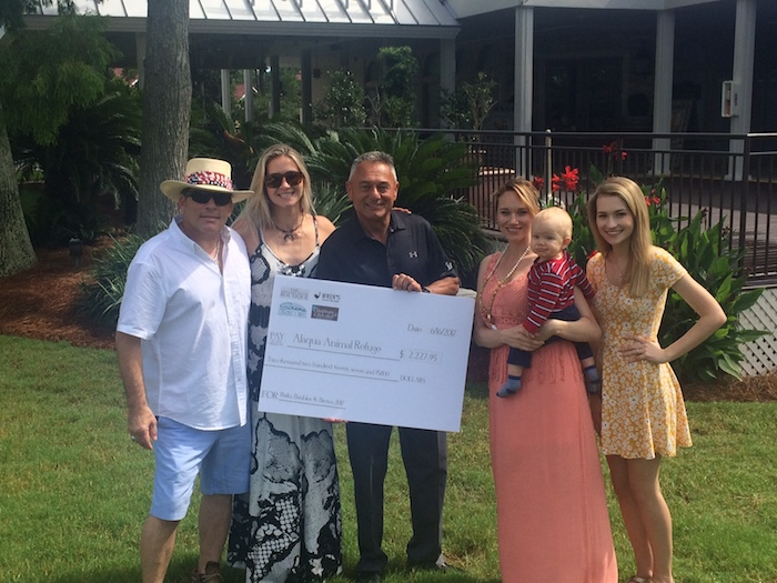 Jay Powell (Owner, Chapeau & Chocolat), Wren Youngbeck (Owner, Wren's Village Boutique), Joe Capers (Chairman of the Board, Alaqua Animal Refuge), Abbie Reeves (Owner, The Dressing Room Boutique), and Jamie Rhodes (Sales Associate, Sirens Lingerie & Swim)