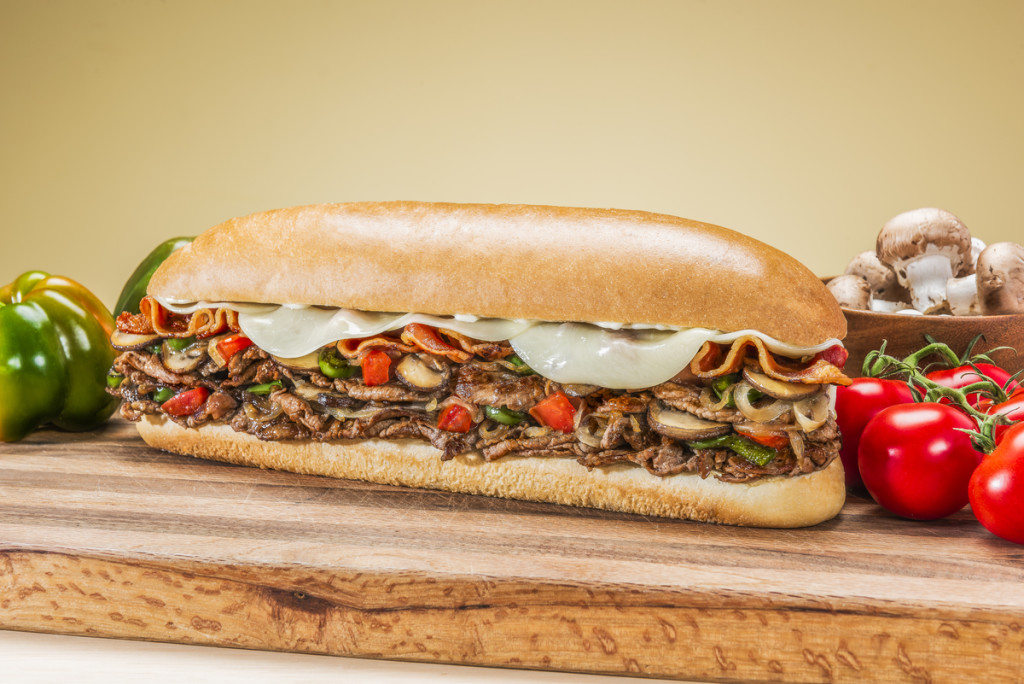 A hot juicy steak bomb sub captured for United Franchise Group in West Palm Beach, Floirda.  Photography by Jeffrey A McDonald