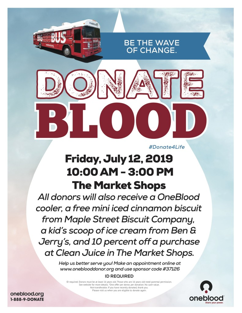 The Market Shops Blood Drive -July 2019