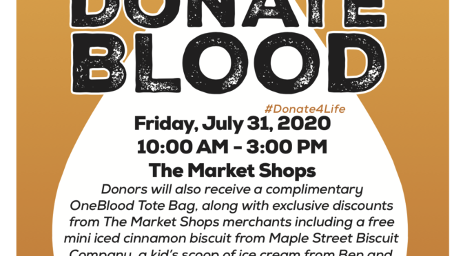 The Market Shops to Host Second July OneBlood Drive